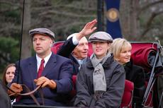 "<div class=""source"">Teresa Revlett, Kentucky Press Association</div><div class=""image-desc"">Gov. Steve Beshear, waving to the crowd, and first lady Jane Beshear ride in a carriage during the governor's inaugural parade Tuesday in Frankfort.