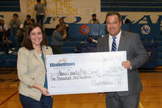 """<div class=""""source"""">Terry Sandidge</div><div class=""""image-desc"""">LaRue County High School Principal Paul Mullins was presented a check for $1,100 from Elizabethtown Community and Technical College Friday. The funds were donated to Hawk Athletics. At right is ECTC representative Amber Roberts. ECTC has placed a banner in the LCHS gym for recruiting purposes.</div><div class=""""buy-pic""""><a href=""""/photo_select/18888"""">Buy this photo</a></div>"""