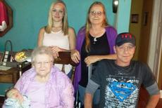 """<div class=""""source"""">Submitted Photo</div><div class=""""image-desc"""">Five generations of the Mary Emily Brown family of LaRue County recently gathered. Pictured front row from left: Great-great-grandson Mason Kirby, Mary Emily Brown, and grandson Lowell Oakes, back tow from left: Great-granddaughter Brittany Kirby and daughter Pam Brown Oakes</div><div class=""""buy-pic""""><a href=""""/photo_select/44796"""">Buy this photo</a></div>"""