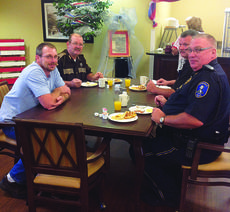 "<div class=""source"">Submitted photo</div><div class=""image-desc"">Sunrise Manor remembered 9/11 with prayer and a remembrance breakfast honoring local EMS, police and fire fighters who attended. Pictured are LaRue County Fire Chief Jason Sadler, Sheriff Merle Edlin, Sgt. Marcus Jackson and Hodgenville Police Chief Steve Johnson.</div><div class=""buy-pic""><a href=""/photo_select/30370"">Buy this photo</a></div>"