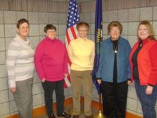 """<div class=""""source""""></div><div class=""""image-desc"""">New officers for Elizabethtown's National Active and Retired Federal Employees Chapter 1050 have been selected. From left, second vice president Mary Tom Haun, first vice president Sally Watkins, president Kay Bennett, treasurer Dolores Pfeiffer and secretary Carol Aiken.</div><div class=""""buy-pic""""></div>"""