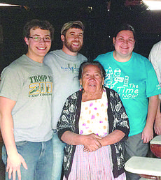 """<div class=""""source""""></div><div class=""""image-desc"""">The Guatemala mission team replaced a stove for a widow named Marta, standing in front. The new stove allows for ventilation in her home. From left are: Lucas Pepper, a sophomore of Hodgenville; Trent Creason, 2008 CU alumnus; Marta; and Charity Powell, graduate student and 2007 CU alumnus.</div><div class=""""buy-pic""""><a href=""""/photo_select/26585"""">Buy this photo</a></div>"""