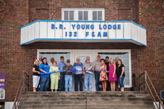 "<div class=""source"">Melanie Wells</div><div class=""image-desc"">The LaRue County Chamber of Commerce held a ribbon cutting event for the B.R. Young Masonic Lodge #132 on the square in downtown Hodgenville, Saturday, August 6. Those in attendance were; Iris LaRue, Robert Nester,  Angel French, Tony Stewart, Nina Cundiff, Paul  Withington, Junior Brown, Joe Barany, Will Burden, Greg Dearborn,  Pam Stephens, Matt Willis, Chamber President Teleana Davis, State Representative Terry Mills, and Chamber Executive Director Krista Levee. </div><div class=""buy-pic""><a href=""/photo_select/49404"">Buy this photo</a></div>"