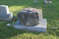 """<div class=""""source"""">Photo by Linda Ireland</div><div class=""""image-desc"""">One of the most unusual tombstones in Pleasant Grove Cemetery is that of Harold E. Cundiff. It's a large limestone rock atop a granite base.</div><div class=""""buy-pic""""><a href=""""/photo_select/30437"""">Buy this photo</a></div>"""