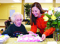 """<div class=""""source"""">Jerianne Strange</div><div class=""""image-desc"""">Alma """"Dora"""" Taylor celebrated her 103rd birthday Jan. 3. Above, Sally Rineker, quality of life director for Sunrise Manor Nursing Home, presented Taylor with a birthday cake.  </div><div class=""""buy-pic""""><a href=""""/photo_select/25123"""">Buy this photo</a></div>"""