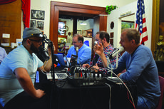 "<div class=""source"">Vanessa Hurst</div><div class=""image-desc"">Pictured from left,  Kris Cruz, Brad Skaggs, Kal Elsebai and Doc Thompson airing live from the Lincoln Museum in downtown Hodgenville.</div><div class=""buy-pic""><a href=""/photo_select/53238"">Buy this photo</a></div>"