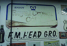 """<div class=""""source"""">Photo courtesy of Tim Kennedy</div><div class=""""image-desc"""">F.M. Head Grocery sign</div><div class=""""buy-pic""""><a href=""""/photo_select/30454"""">Buy this photo</a></div>"""