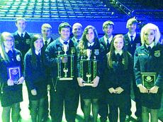 """<div class=""""source"""">submitted photo</div><div class=""""image-desc"""">Members of the three FFA state-winning teams are front from left, Emma Shelton, Morgan Durham, Lane Meredith, Chloe Owen, Keeahna Bowen and Cayleigh Allen; back, Jacob Hurt, Hunter Thomas, Forrest Durham, Branden Pepper and Curtis Pepper.</div><div class=""""buy-pic""""><a href=""""/photo_select/35676"""">Buy this photo</a></div>"""