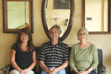 """<div class=""""source"""">Vanessa Hurst</div><div class=""""image-desc"""">Three of the four owners of Cut Above, from the left, LaDona Childress, Rick Linder and Cindy Smith located at 66 Shawnee Drive in Hodgenville.</div><div class=""""buy-pic""""><a href=""""/photo_select/43138"""">Buy this photo</a></div>"""