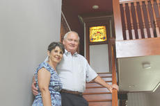 """<div class=""""source"""">Doug Ponder</div><div class=""""image-desc"""">All the Way Plumb Bed and Breakfast owners Kaye and Mike Smith are shown standing on thier staircase that was built in 1915. </div><div class=""""buy-pic""""><a href=""""/photo_select/43446"""">Buy this photo</a></div>"""