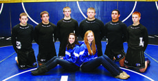 """<div class=""""source"""">Terry Sandidge</div><div class=""""image-desc"""">LaRue County Mat Hawk seniors are front from left, statisticians Lauren Meredith and Kara Paden; back, Caleb Milliner, Caleb Canter, Jared Whitlock, Nathan Bell, B.J. Carman and Tanner Mouser.</div><div class=""""buy-pic""""><a href=""""/photo_select/25270"""">Buy this photo</a></div>"""