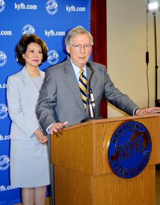 "<div class=""source"">Taylor Riley/The Oldham Era</div><div class=""image-desc"">U.S. Senate Minority Leader Mitch McConnell takes questions from reporters after the Farm Bureau event Wednesday.  </div><div class=""buy-pic""><a href=""/photo_select/36865"">Buy this photo</a></div>"