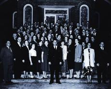 """<div class=""""source"""">Submitted photo</div><div class=""""image-desc"""">Reverend Nobel Cottrell (front center) was pastor at Oak Hill Baptist Church from 1936 to 1954. Here, he and the congregation, are pictured on the steps of the then newly built brick church building, which was completed in 1949.</div><div class=""""buy-pic""""><a href=""""/photo_select/30699"""">Buy this photo</a></div>"""