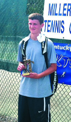 "<div class=""source"">Submitted Photo</div><div class=""image-desc"">Trevor Sanders won the Miller Park Invitational tennis tournament in Campbellsville this past weekend in the 15-year-old age bracket.