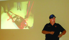 """<div class=""""source"""">Photo by Linda Ireland</div><div class=""""image-desc"""">Hodgenville Fire Chief Wally Sparks describes the problems firefighters had with an evacuation sled during a drill at Sunrise Manor. The manufacturer said training is essential for proper use of the sled.</div><div class=""""buy-pic""""><a href=""""/photo_select/31962"""">Buy this photo</a></div>"""