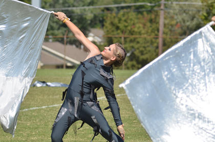 Kayleigh Warren, a member of the LaRue County High School Band of Hawks colorguard, performed at the Taylor County Marching Invitational.