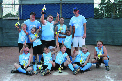 The 10-U Stompers were tournament champs, undefeated league champs and Fun Day champs. From left, Daylin Jewell, Maleah English, Cayce Foster, Alexandra English, Madison Wilmoth, Harper Hynes, Avery Murray, KeKe Weathers, head coach DeWayne Murray, Zoe VanRiper, Alexandria French and assistant coach Hynes.