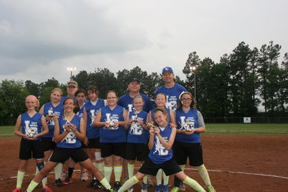 The 9U Blue Heat are Alexis Grimes, Katelyn Eads, Madison Gibson, Harper Hynes, Avery Murray, Emma Grace Devers, Shianne Thompson, Hannah Perry, Taylor Rhinehart and Kelli Sensabaugh. Coaches are Dewayne Murray and David Hynes.