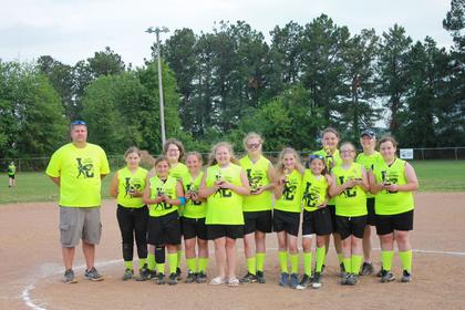 The 12U E'lemon'aters are Zoe VanRiper, Cayce Foster, Jolie Puckett, Maleah English, Alysen Powell, Tara Goodwin, Alexandra (A.J.) English, Amya Stillwell, Breanna Blunk, Hailey Coursey and Harley Coursey. Coaches are Tim Powell and Jodie Johnson.