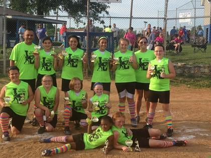 "The 12U Slimers were tournament champs. They are Kylie Ferguson, Haley Thompson, Selena Vidal, Bella Venegas, Paige Evans, KeKe Weathers, Emmalee Moore, Madison Wilmoth, Erika ""Paige"" Reed, Daisy Waggoner and Alexis Summitt. Coaches are Christy Ferguson, Jorge Venegas and Derrell Cooper."