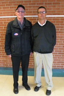 Sixth grade LCMS teacher Dodd Caudill (right) with his father and veteran, Dodd Caudill.