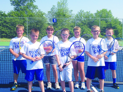 Third through fifth-graders attending Tennis Camp are front from left,  Luke Howell, Biven Turner, Conner Nicholas; back, Dylan Thompson, Kelsey Hornback, Olivia Bingham and Carsen DeVary.