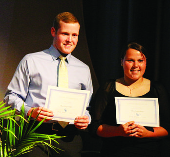 Dylon Hedgespeth and Courtney Johnson received an award for being voted most dependable, in senior superlatives.