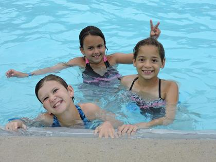 Fun in the pool at 4-H Camp.  Nova Fay, Marlina Livingston and Maleah English.