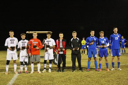 Hawks named to the All-Tournament Team for the District include from left, Alex Cook, Marshall Metcalf and Jacob Hurt. Cook and Metcalf were named to the All-Tournament Team for Region as well.