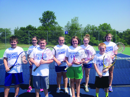 Students, grades 6-8, who participated in the LCHS Tennis Camp are front from left, Rylee Greenwell, Alex Donahue, Karrington Donahue, Bryson Puyear; back, Alexis Puckett, Kalli Flanders, Breanna Taylor and Kathryn Reding.