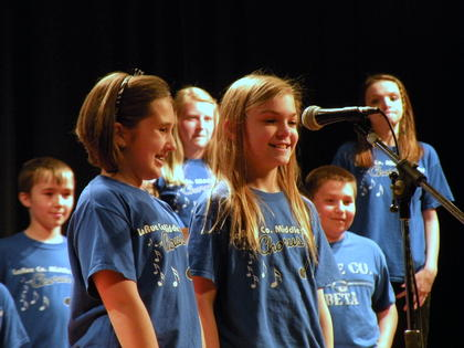 "Kaylee Whiteman and Grace Ramey, 6th graders, singing ""I Love to Laugh"" from Mary Poppins"