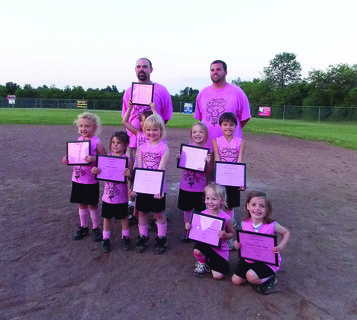 The U6 Diamond Divas are front from left, Bella Thompson, Brooklynn Skaggs; middle, Chloe Whitlow, Maxie Blakey, Arriana Rivera, Abigail Morgan, Emma Keith, Isabella Rivera; back, head coach Patrick Skaggs, assistant coach Jason Keith.