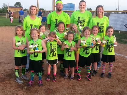 The 6U Sweet Peas were league and tournament champs. They are Addison Devers, Addison Skaggs, Rori Cornett, Kaitlyn Stillwell, Leah Morrow, Jaedyn Heckman, Scout McCurry, Kateland Edwards, Kinley Davis and Kaylee Morrow. Coaches are Brian Cornett, Emily Skaggs, Leandrea Cornett and Vanessa Devers.