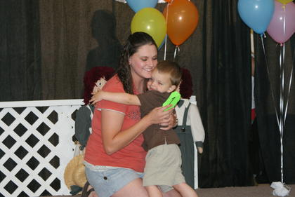 Blake Ashton Shirley gave his mom Jessica a hug during the Most Handsome Baby Boy contest Saturday at the fair.