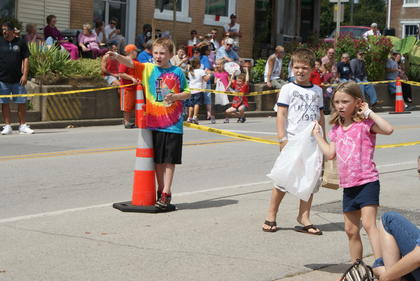 Children waited for the parade to begin.