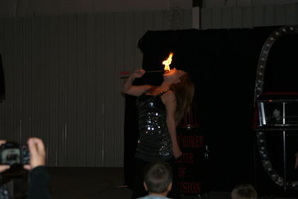 Jennifer Gowen displayed her fire-eating skills.
