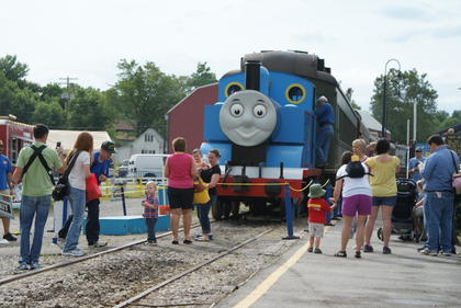 A large crowd enjoyed visiting with Thomas the Tank Engine at the Kentucky Railway Museum Saturday in New Haven. He'll be back June 8-9.