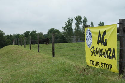 AGstravaganza signs were placed at each tour stop. This is Jerry and Brenda Gaddie's farm between Hodgenville and Magnolia.