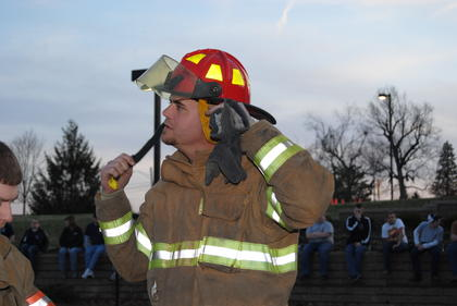 Buffalo firefighter, Craig Wright, gears up for the challenge.