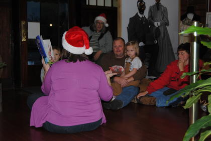 LaRue County children's librarian Laurel Sisler read a children's book at The Lincoln Museum.