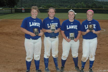 Lady Hawks named to the District All-Tournament Team are from left, Emilee Cundiff, Peyton Gardner, Courtney Johnson and Brigitte Skaggs.