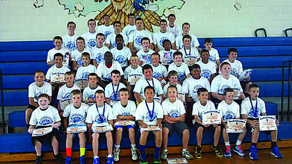 Fifth to eighth-graders participated in Future Hawks Basketball Camp.