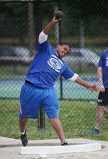 DaMarcus McCray placed eighth in the shot put at the 5th Region track and field meet in Bardstown.