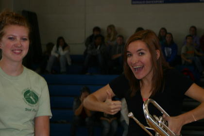 Lindsey Cowles struck a pose with her mellophone.