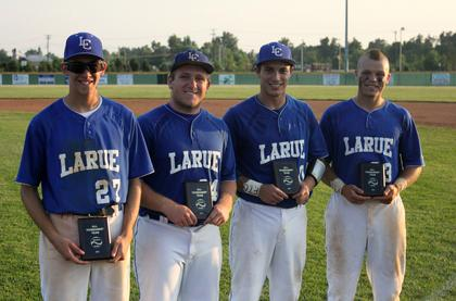 Four Hawks were named to the District All-Tournament Team. From left, senior Wesley Kessinger, junior Cole Hughes, senior Slade Owens and senior Jesse Johnson.