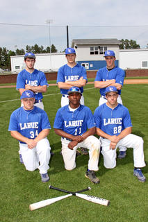 Senior baseball players  Bottom left to right, Cole Hughes, Kelton Ford, Caleb Canter Standing left to right, Austin Hinton, Jordan McGaw, Matt Hornback