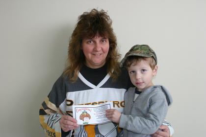 Lorri Wiley was the turkey winner at The Sweet Shoppe and Dessert Cafe.