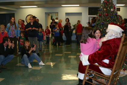 Santa visited with children at Hodgenville Civic Center/City Hall.