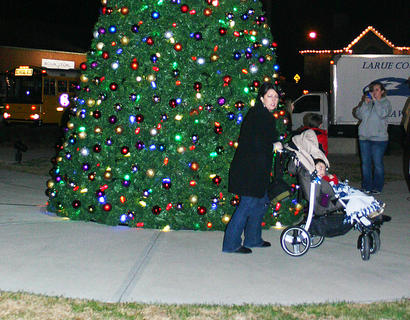 Kacey and Jaden McBride checked out the Christmas tree on the Square.