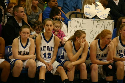 The Lady Hawks bench